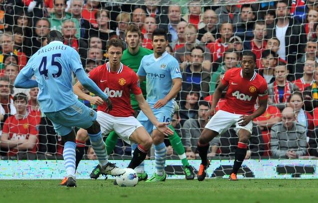 Mario Balotelli scores at Old Trafford
