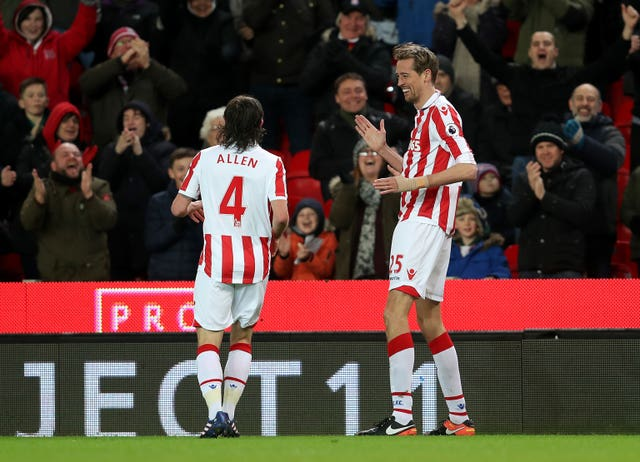 Crouch revived the robot to celebrate his 100th Premier League goal, against Everton in February 2017