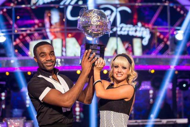 Joanne Clifton and Ore Oduba with theiir Strictly trophy
