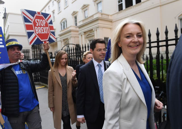 Chief Secretary to the Treasury Liz Truss (right) and Housing Secretary James Brokenshire (2nd right) arrive for the launch of Boris Johnson's campaign