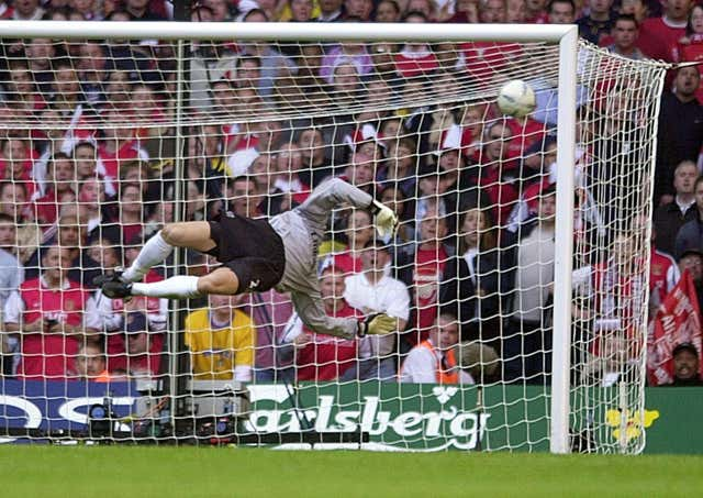 Chelsea goalkeeper Carlo Cudicini fails to stop Ray Parlour's strike in the 2002 FA Cup final - with Arsenal going on to win 2-0.