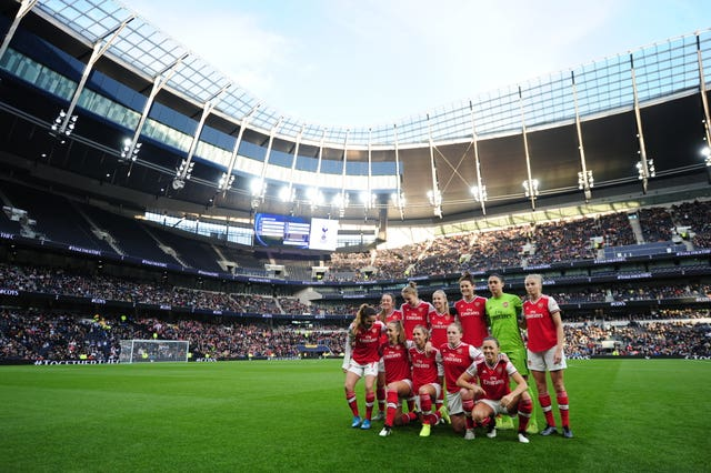 A Women's Super League record crowd of 38,262 saw Arsenal beat Spurs 2-0 at the Tottenham Hotspur Stadium