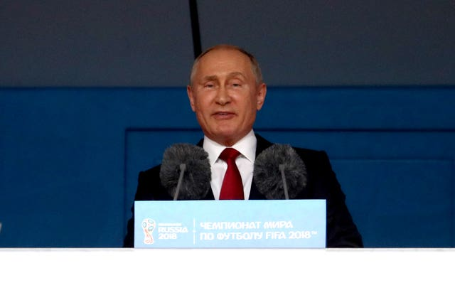 Russia president Vladimir Putin speaks to the crowd