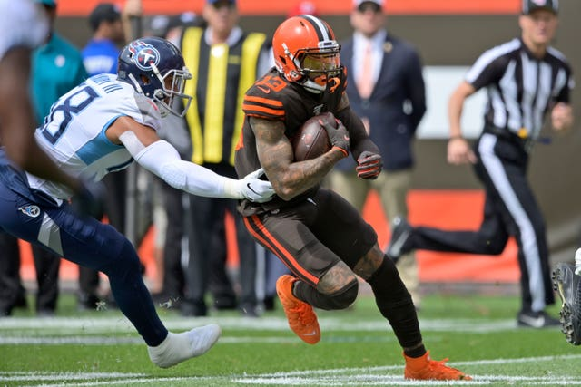 Cleveland Browns wide receiver Odell Beckham Jr rushes during the first half against the Tennessee Titans on the opening weekend of the NFL season