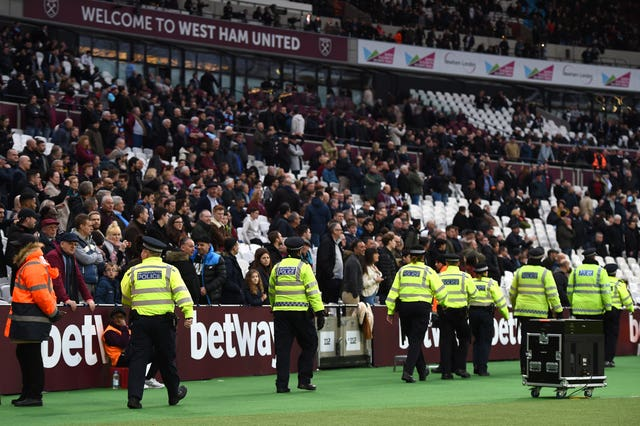 Disturbances during West Ham's match against Burnley are being investigated (Daniel Hambury/PA Images)