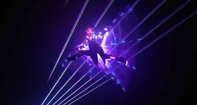 An aerialist from the Duo Lugo Laser act dazzled the audience (Niall Carson/PA)