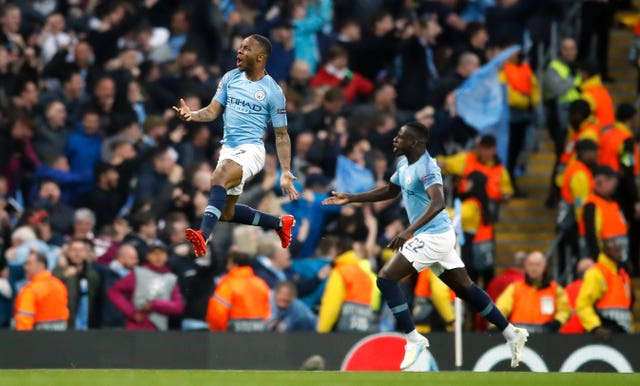 Sterling celebrates putting City in front, and levelling the tie on aggregate