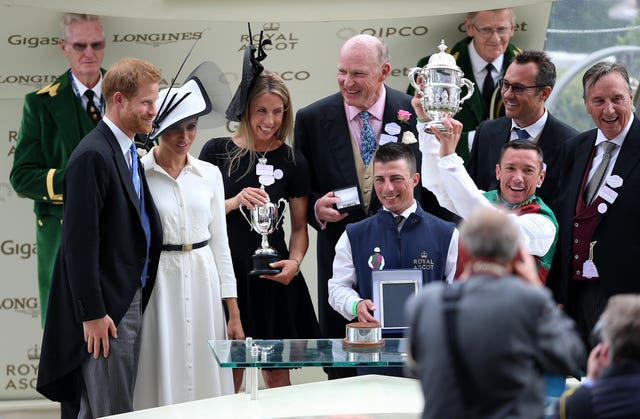 Prince Harry, Duke of Sussex and Meghan, Duchess of Sussex, present the awards to Frankie Dettori and John Gosden
