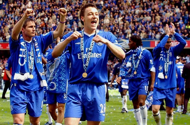 Frank Lampard, left, celebrates with his team-mates after winning the Premiership title for the first time in Mourinho's first season