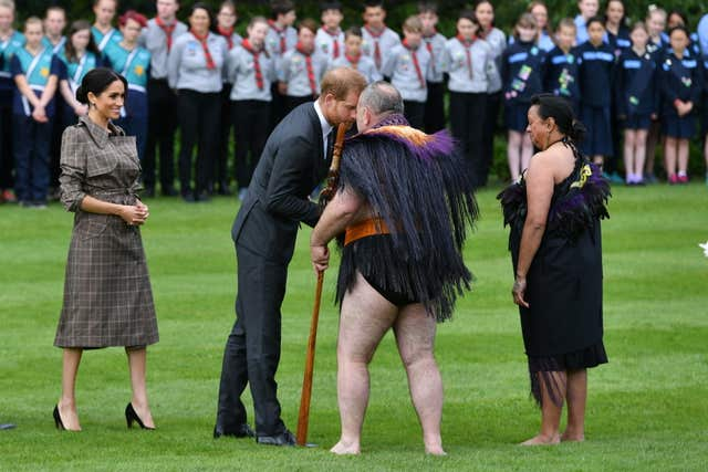 The Duke of Sussex receives a hongi during a welcome ceremony
