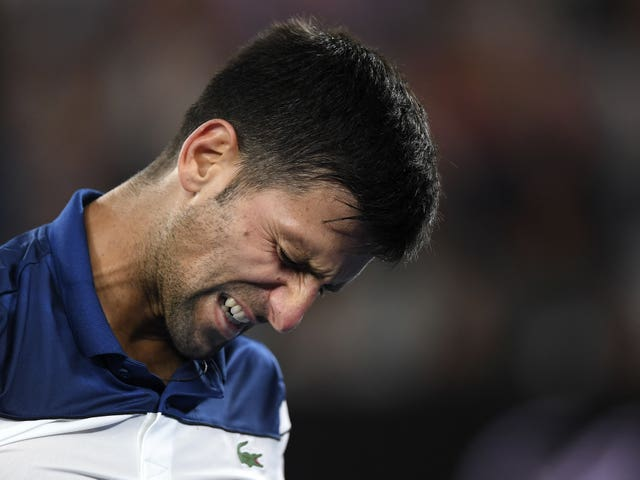 Novak Djokovic grimaces during his fourth-round defeat by Chung Hyeon