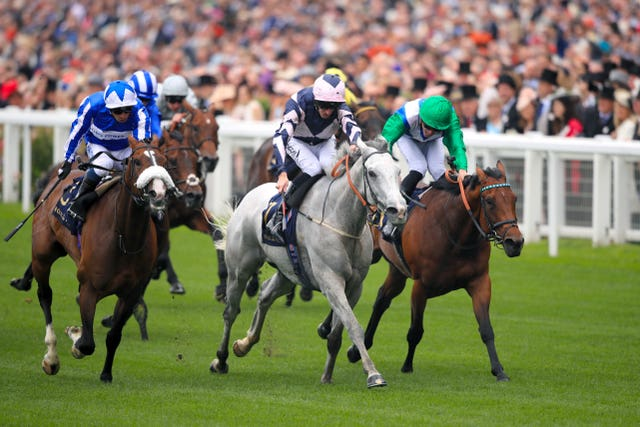 Lord Glitters and Danny Tudhope (centre) on their way to Group One glory at Royal Ascot in the Queen Anne Stakes (Adam Davy/PA)