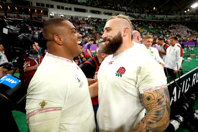 Kyle Sinckler (left) and Joe Marler are among those battling to stay fit during lockdown