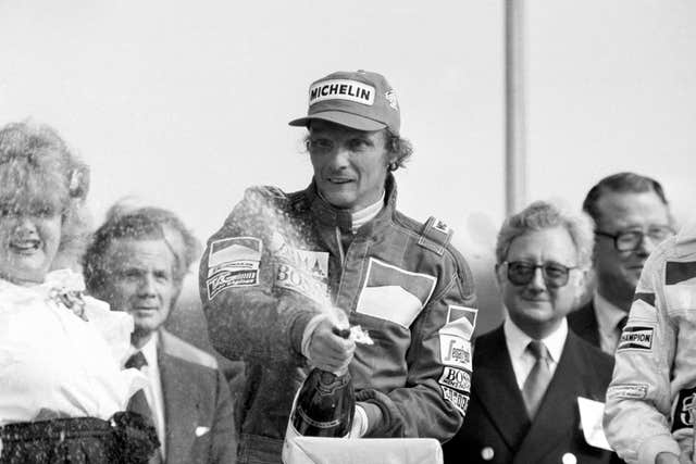 Lauda triumphs in the 1984 British Grand Prix at Brands Hatch after winning in his Marlboro McLaren