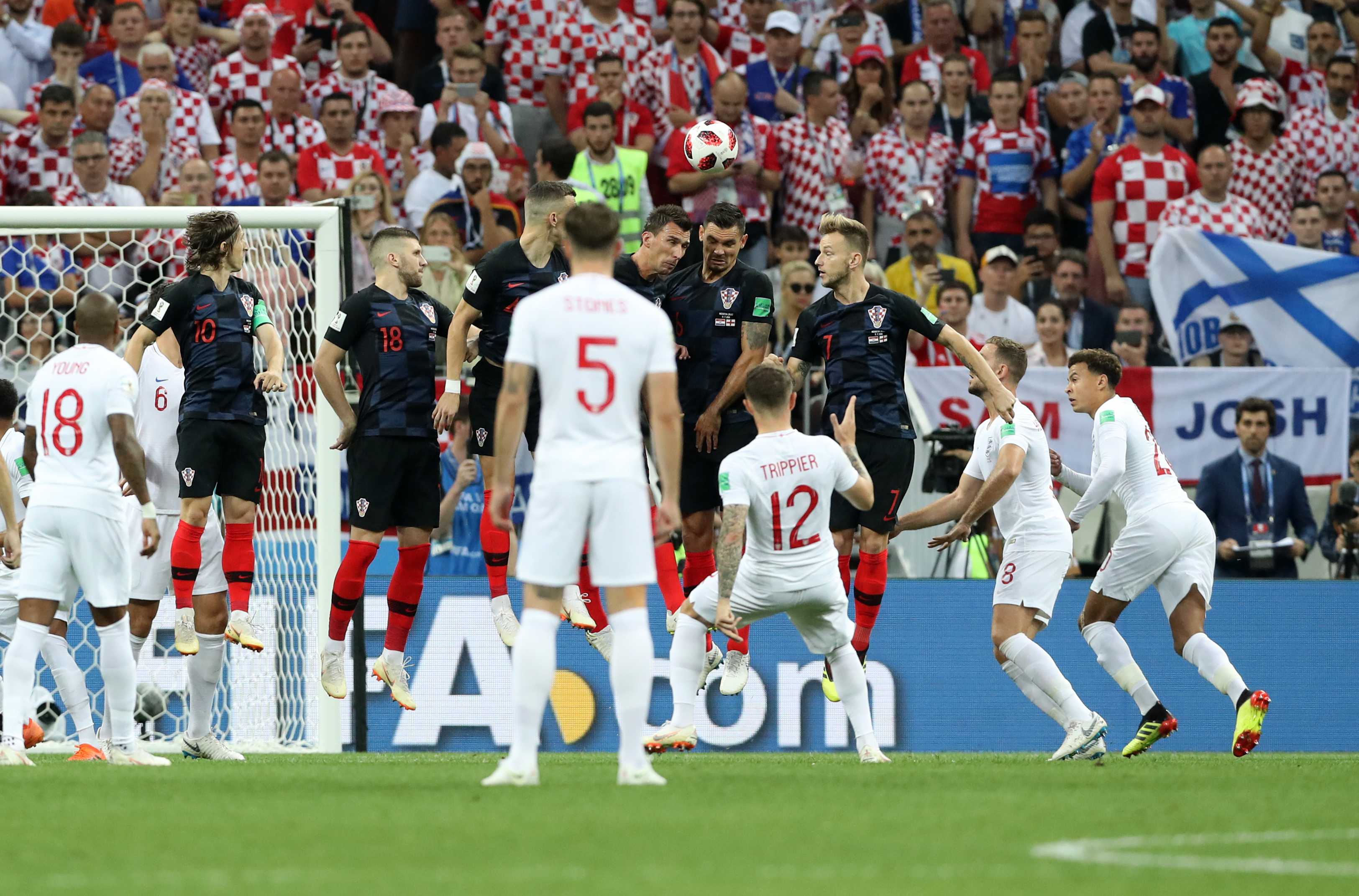 England's Kieran Trippier scores against Croatia