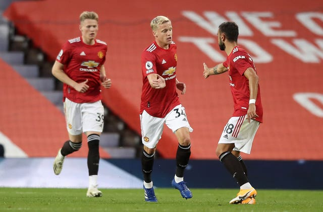 Donny van de Beek (centre) scored on his United debut