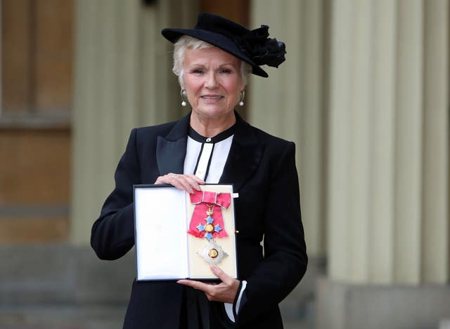 Dame Julie Walters after she made a dame by Queen Elizabeth II at an Investiture ceremony at Buckingham Palace, London.