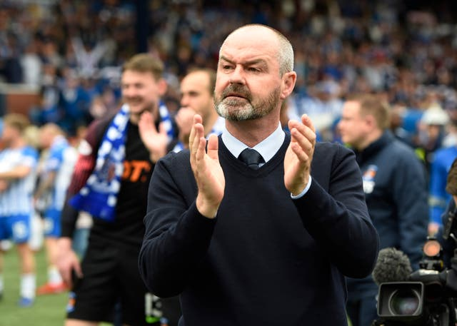 Steve Clarke applauds the fans at Rugby Park