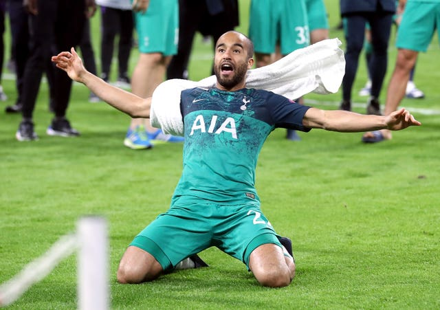 Lucas Moura celebrates after the final whistle of the Champions League semi-final, second leg match against Ajax in which he scored a hat-trick to secure Spurs' place in the final.