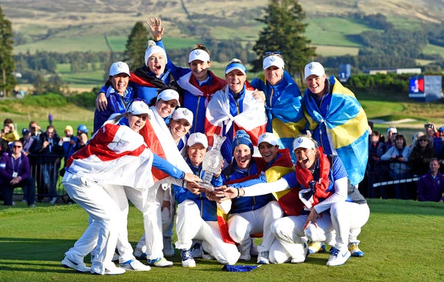 Team Europe celebrate their Solheim Cup victory