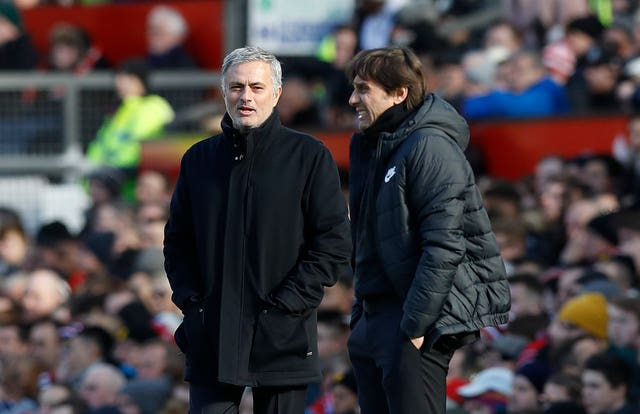 Mourinho with his Chelsea replacement, Antonio Conte, who led the club to Premier League victory in the 2016/17 season. United finished sixth