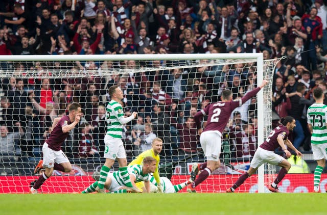 Ryan Edwards celebrates putting Hearts in front