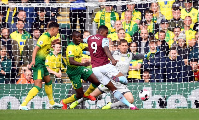 Brazilian forward Wesley scored twice as Aston Villa ran out 5-1 winners at Norwich.
