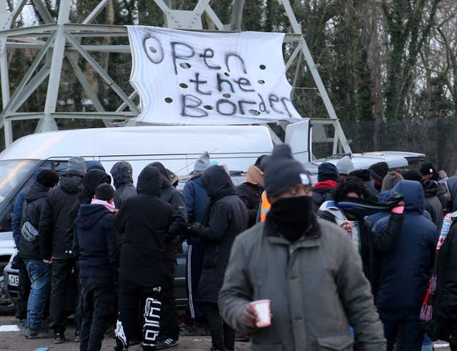 A view of a migrant camp in Calais, France, as French President Emmanuel Macron visited the region.