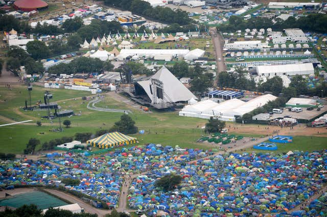 An aerial view of the Pyramid stage during the Glastonbury Festival at Worthy Farm in Pilton, Somerset (Ben Birchall/PA)