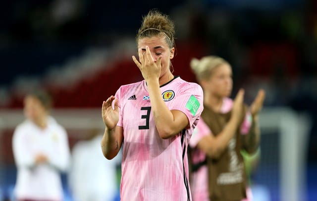 Scotland's Nicola Docherty cuts a dejected figure at the final whistle in Paris