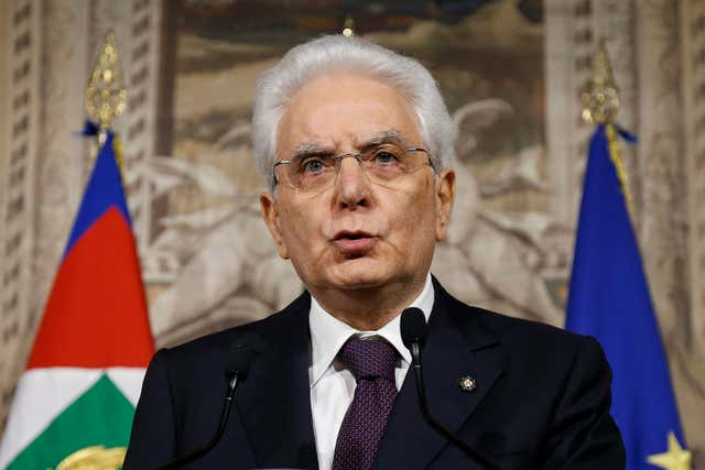 Sergio Mattarella speaks to the media
