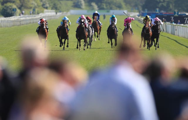 Entitle (pink cap) dead-heated for second at York