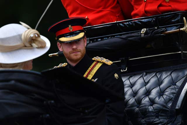 Prince Harry during the Trooping the Colour ceremony at Horse Guards Parade (Sgt Rupert Frere/MoD/Crown Copy/PA)