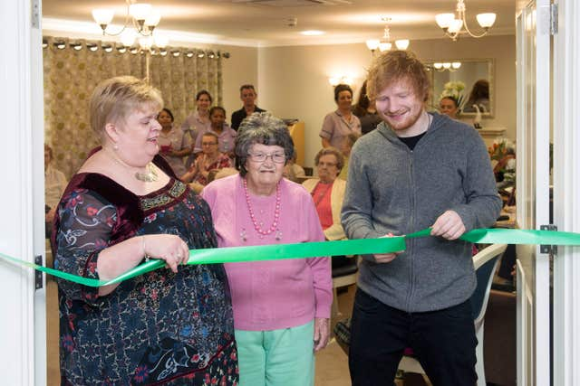 Ed Sheeran at a care home in his home town of Framlingham