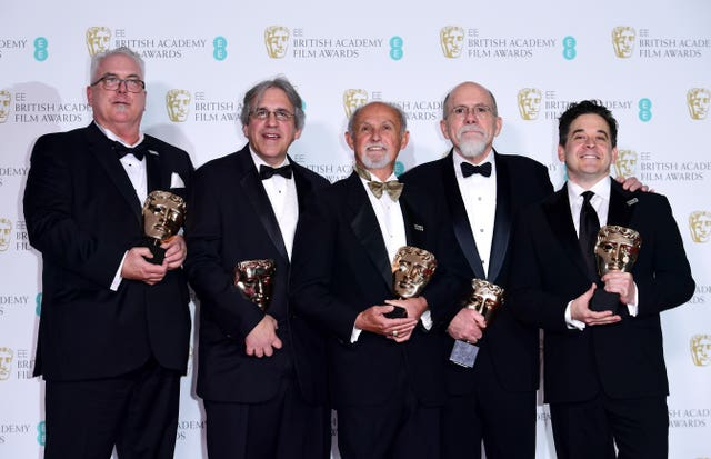 Alex Gibson, Mark Weingarten, Gregg Landaker, Richard King and Gary A Rizzo with the Bafta for best sound, for Dunkirk (Ian West/PA)