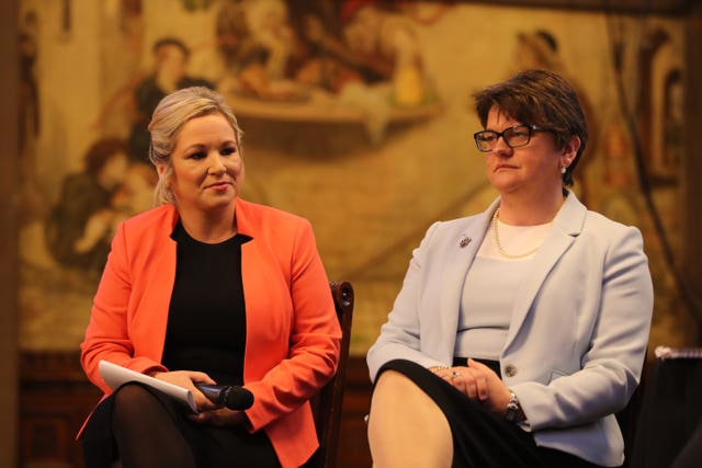 DUP leader Arlene Foster (right) and Sinn Fein's Stormont leader Michelle O'Neill (Owen Humphreys/PA)