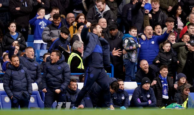 Chelsea boss Frank Lampard celebrates his side's win on Saturday after the final whistle