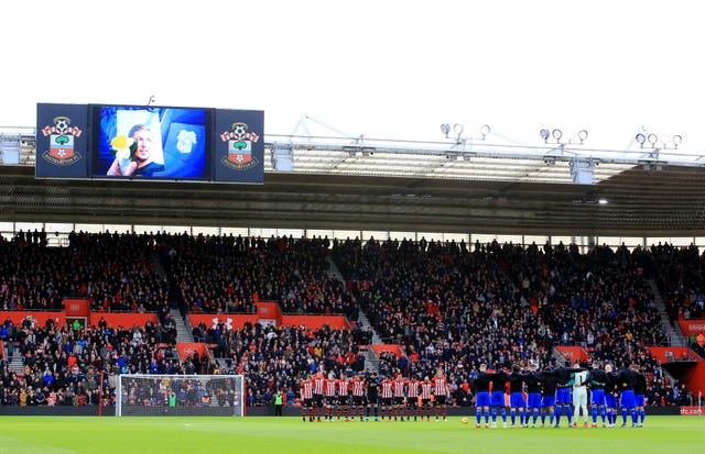Tributes were paid to Emiliano Sala at Cardiff's match at Southampton on Saturday