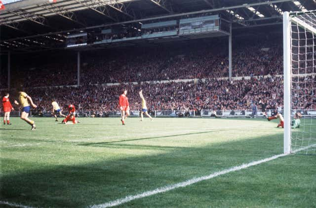 Charlie George, third left, celebrates his extra-time winner against Liverpool in 1971, which clinched Arsenal the double