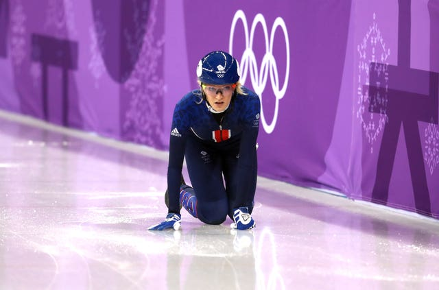 Great Britain's Elise Christie realises her 500m final medal chances have gone