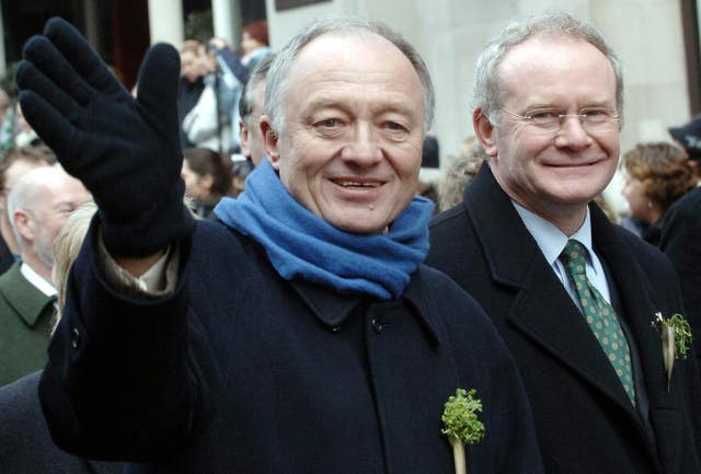 Ken Livingstone with then Sinn Fein Deputy Leader Martin McGuinness during the St Patrick's Day Parade in 2006 (Stefan Rousseau/PA)