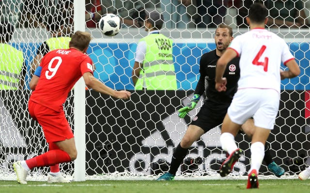 Harry Kane scores against Tunisia