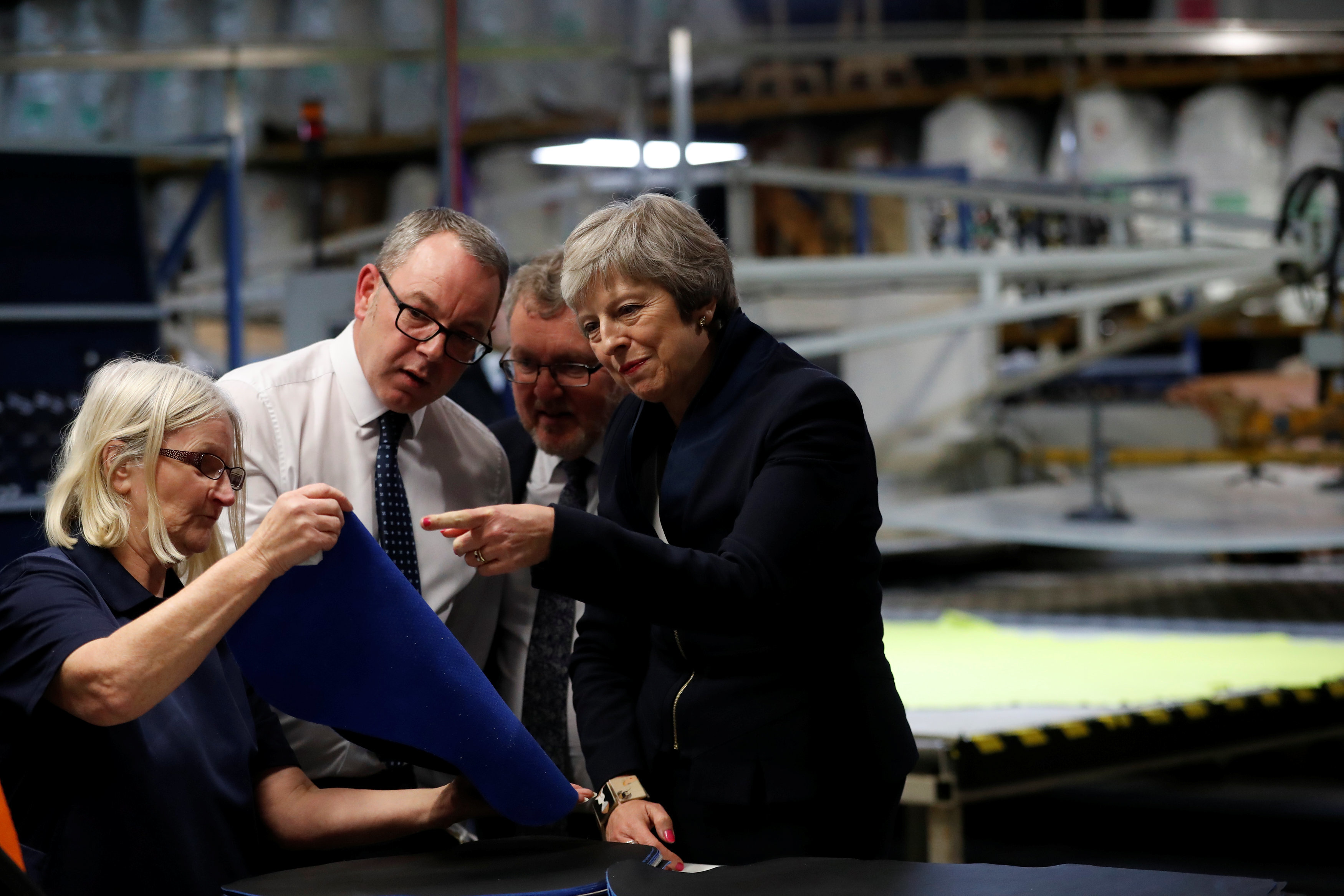 Prime Minister Theresa May visits the Scottish Leather Group Limited in Bridge of Weir Scotland