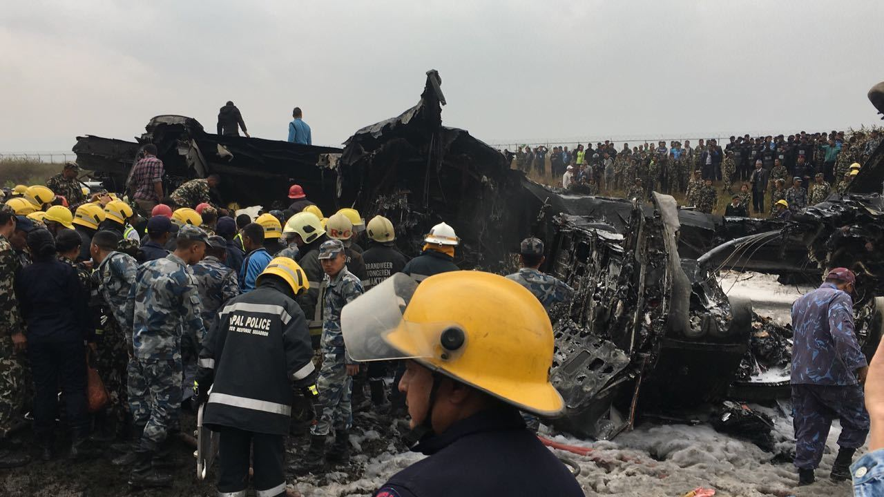 Passenger plane crashes at Kathmandu's Tribhuvan International Airport in Nepal