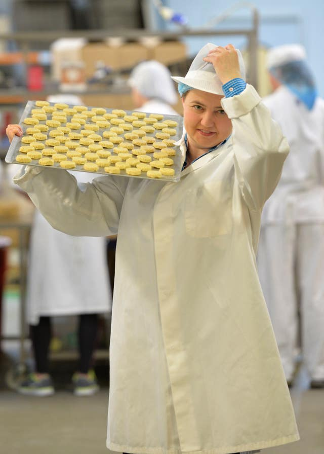 Scottish Conservative leader Ruth Davidson holding a tray of shortbread (John Linton/PA)