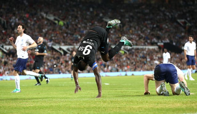 Bolt had a taste of the action at Soccer Aid