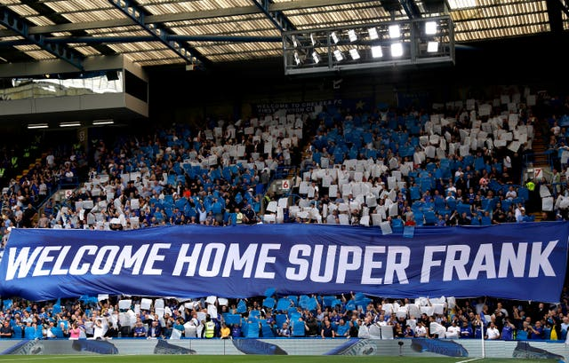 A banner celebrating Frank Lampard's return at Stamford Bridge