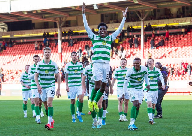 Jeremie Frimpong celebrates after Celtic's 4-0 thrashing of Aberdeen