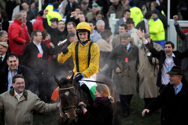 Patrick Mullins returns victorious aboard Cousin Vinny at Cheltenham in 2008