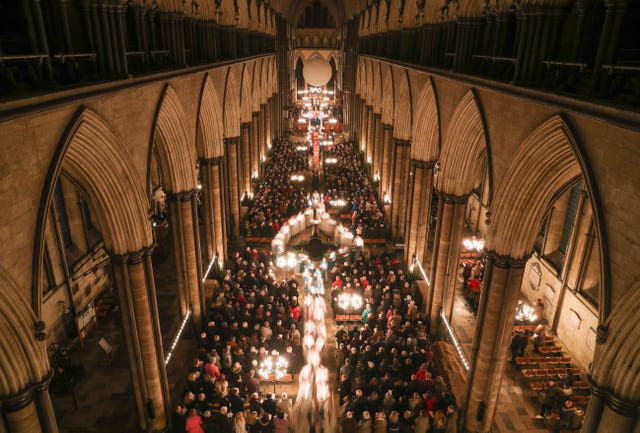 Advent procession at Salisbury Cathedral